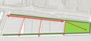 Stedenbouwkundig ontwerp De Dijk met in groen de begraafplaats